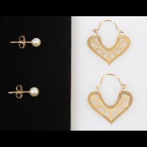 14K Gold Hoop And Real Pearl Earrings .96g  Retro
